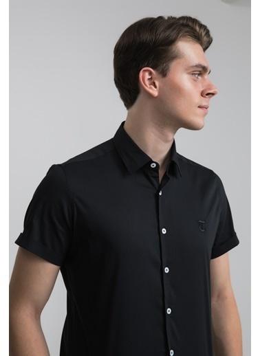 TWN Twn Slim Fit Beyaz Düz Stretch Gömlek Siyah